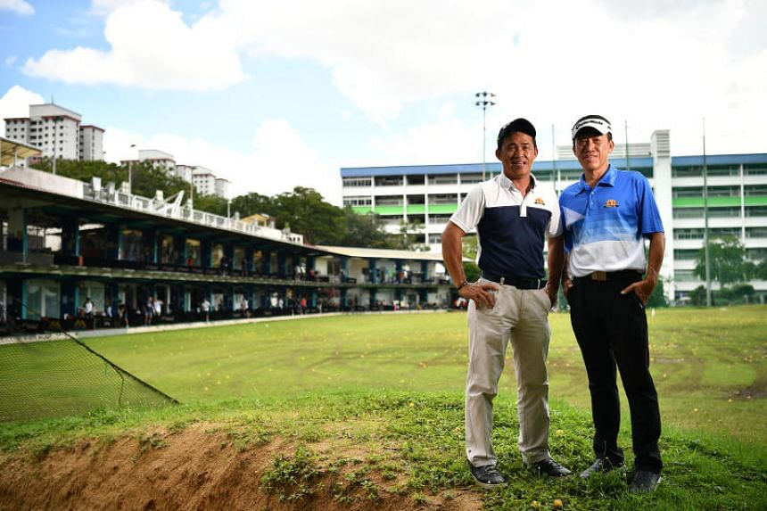 Mr Poh Eng Wah (left), 55, a professional golf coach and his brother, Mr Poh Eng Teck, 65, Managing Director of Poh Bros Golf Management, at Toa Payoh Golf Range on Dec 2, 2018.