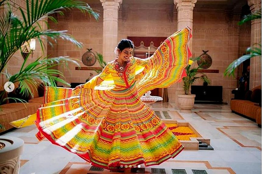 Fireworks lit up the sky on Saturday when Priyanka Chopra, 36, and Nick Jonas (both above), 26, exchanged vows in a Christian ceremony - officiated by the American singer's father - at the opulent Umaid Bhawan Palace in Jodhpur, India. The Bollywood