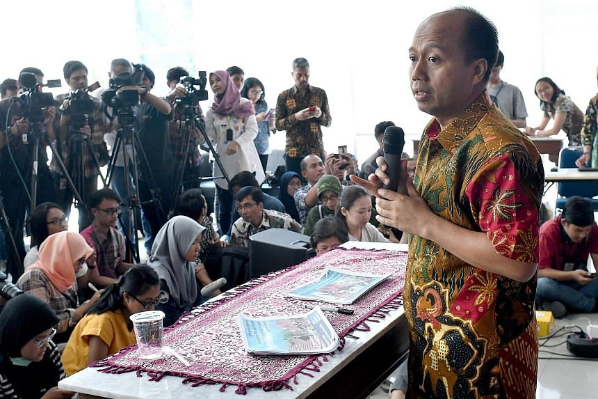 Indonesia's disaster agency spokesman Sutopo Purwo Nugroho updating the media in Jakarta on Oct 2 on the earthquake and tsunami that had hit Central Sulawesi in September.