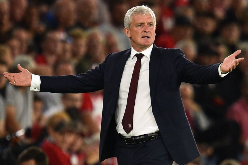 Mark Hughes gestures during the English Premier League football match between Southampton and Brighton at St Mary's Stadium in Southampton, England, on Sept 17, 2018.