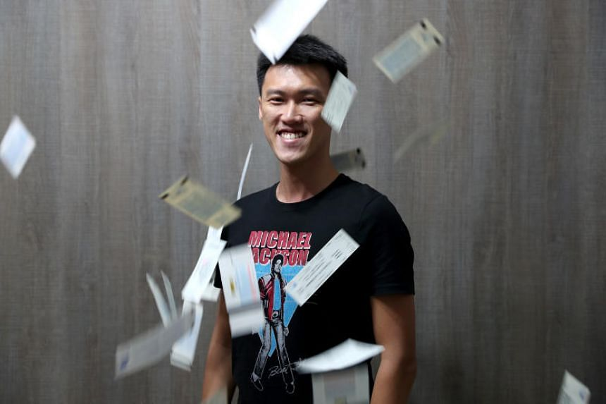 Mr Holden Gan, a marketing manager at Warner Music Singapore, who has collected more than 100 physical tickets from concerts and musicals he has seen.