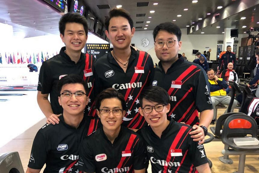 Singapore's team of (clockwise from top left) Darren Ong, Jaris Goh, Keith Saw, Basil Ng, Joel Tan and Jonovan Neo will win a historic medal at the World Bowling Men's Championships after finishing fourth to qualify for the semi-finals.