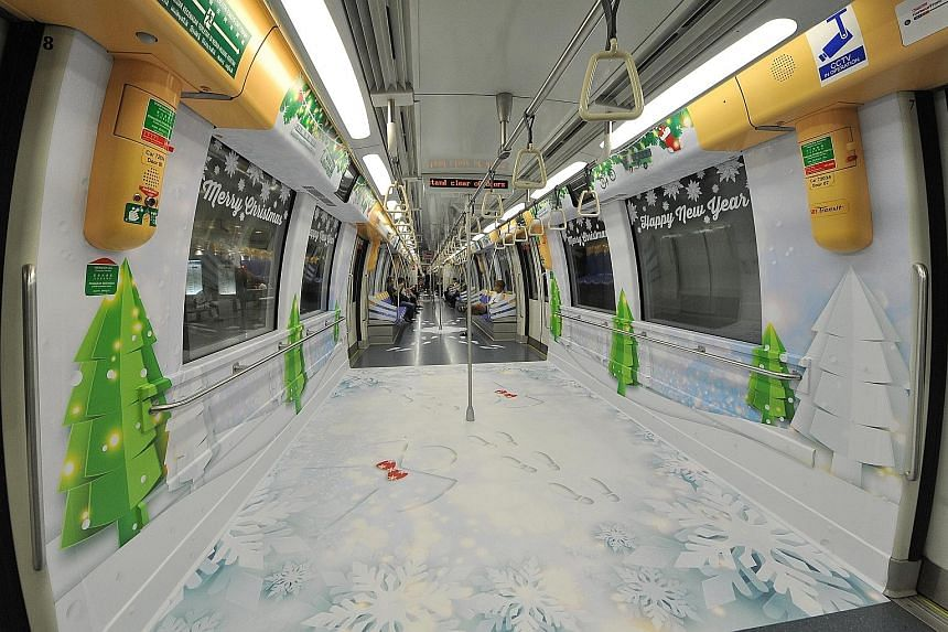 It's beginning to feel a lot like Christmas on your train and bus rides, thanks to the decorations of pine trees, snow flakes and snow angels. From now till Dec 30, commuters will feel the joy of the season as the Land Transport Authority (LTA), in c
