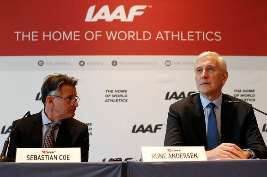 IAAF president Sebastian Coe and Rune Andersen, head of the IAAF taskforce on Russia, at a press conference on Dec 4, 2018.