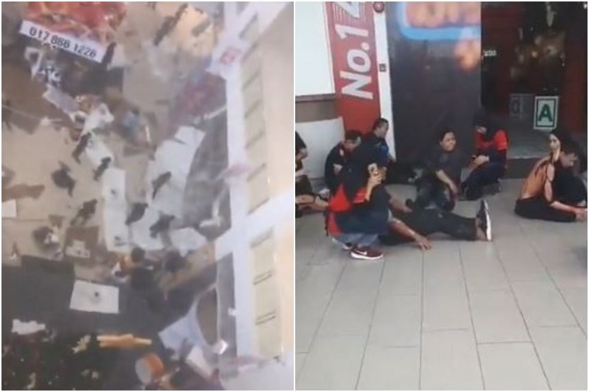Scenes at the CityOne Megamall in Kuching after an explosion rocked the building, causing a section of the ceiling to collapse.