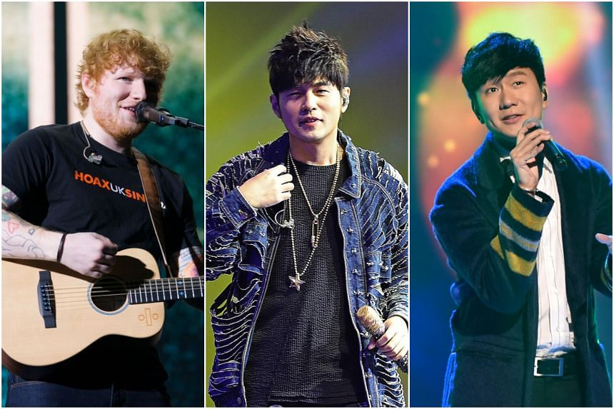 Ed Sheeran was the most-streamed singer on Spotify in Singapore in 2017 but has been dethroned in 2018 by Jay Chou, while JJ Lin is the top Singapore artist.