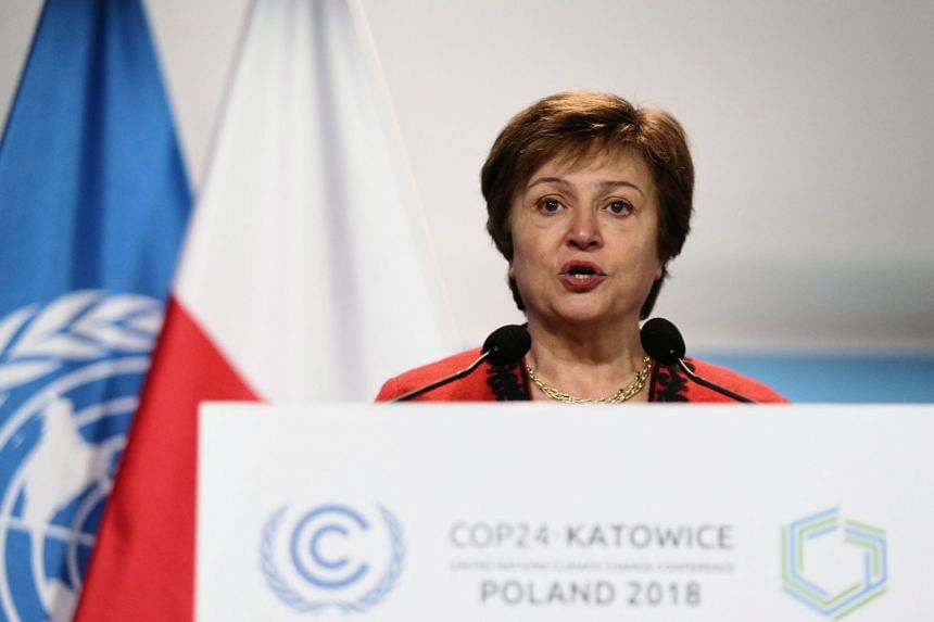 World Bank CEO Kristalina Georgieva speaks during the opening ceremony of the COP24 summit in Katowice, Poland, on Dec 3, 2018.