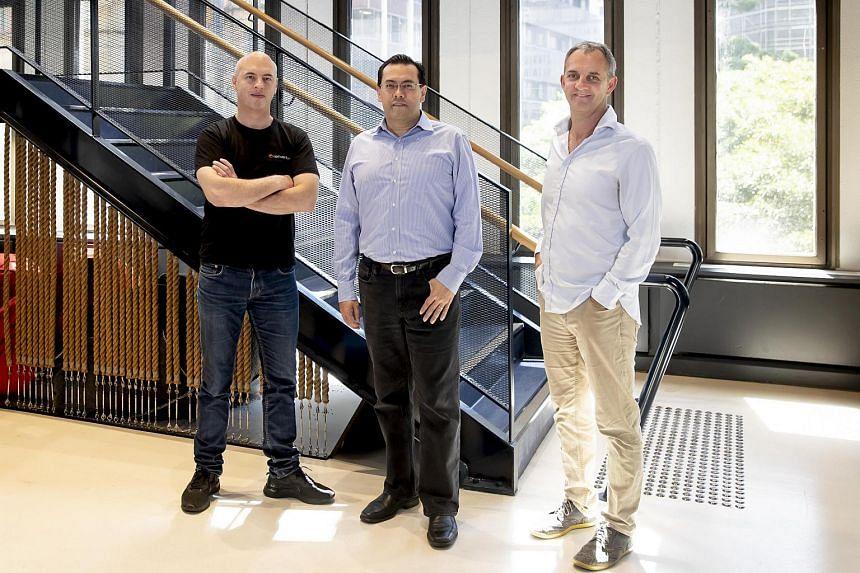 (From left) Data Republic co-founder Danny Gilligan, Singtel Innov8 CEO Edgar Hardless and Data Republic CEO and co-founder Paul McCarney.