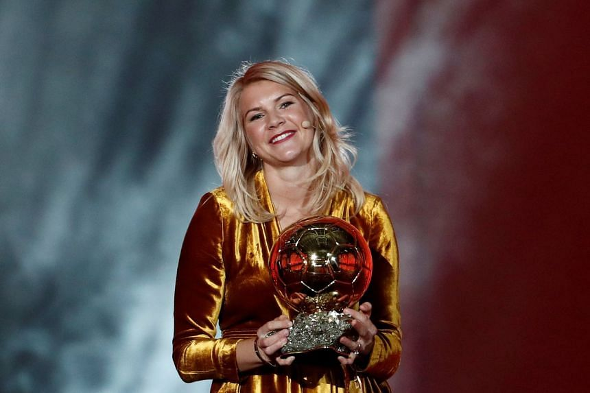 Norwegian striker Ada Hegerberg edged out Danish forward Pernille Harder to claim the inaugural prize at a ceremony in Paris on Dec 3, 2018.