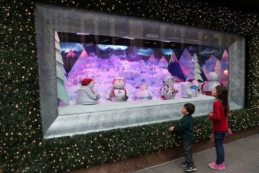 A Christmas holiday window display at Macy's Herald Square in Manhattan on Dec 3, 2018.