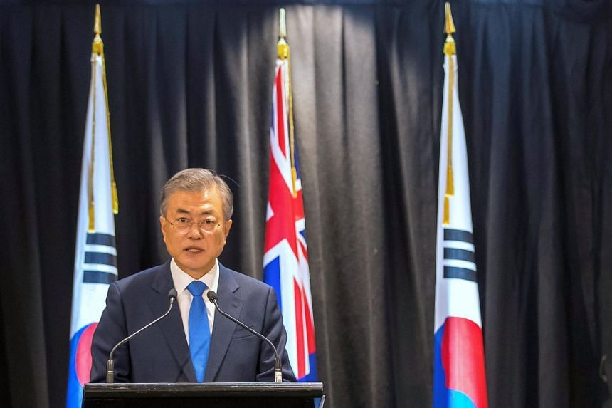 "South Korean President Moon Jae-in such a visit would ""accelerate the denuclearisation in the Korean peninsula"" and result in a ""greater stride in relations improvement"" between the North and the United States."