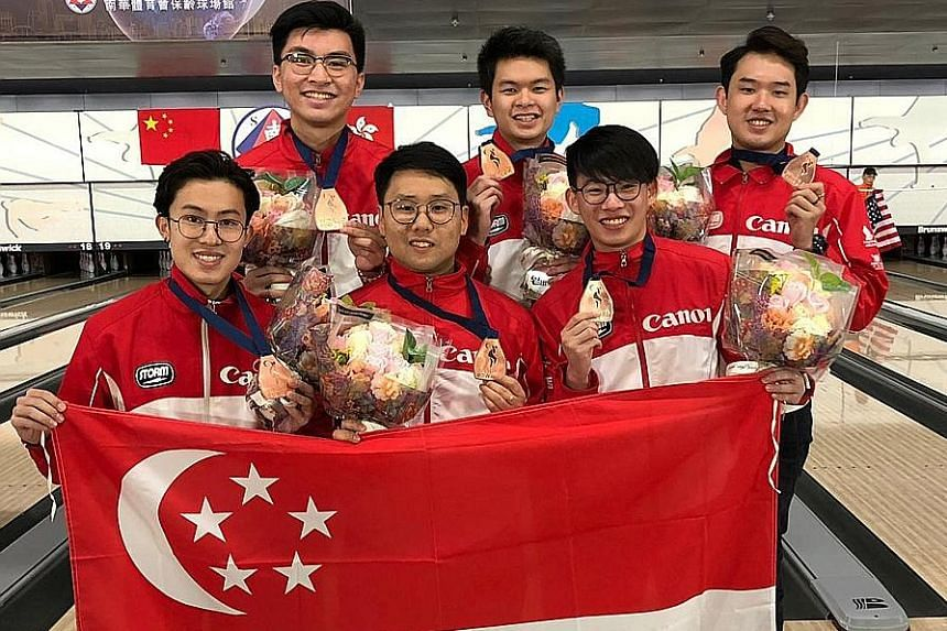 Left: Jaris Goh is jubilant during the men's trios at August's Asian Games, with Singapore finishing third in Indonesia. Yesterday, Singapore's men also won bronze at the World Championships. Below: The achievement by (clockwise from top left) Jonova