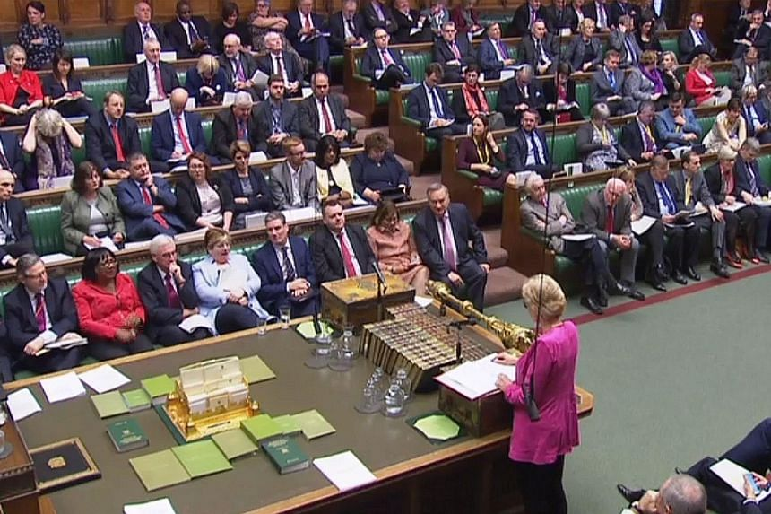 A videograb taken from footage broadcast from the British Parliament shows Leader of the House of Commons Andrea Leadsom (bottom right) speaking during yesterday's debate on a motion to hold the government in contempt of Parliament over its refusal t