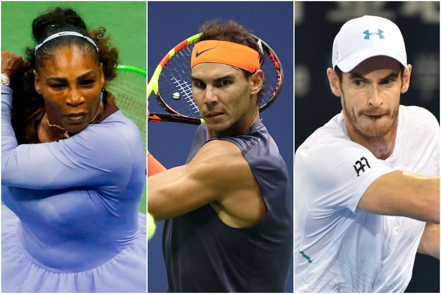 Tennis stars (from left) Serena Williams, Rafael Nadal and Andy Murray will all be at the Australian Open.