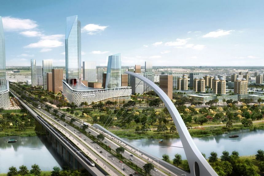 An artist's impression of the new capital city for the southern Indian state of Andhra Pradesh, Amaravati, which is being built on the banks of the Krishna River.
