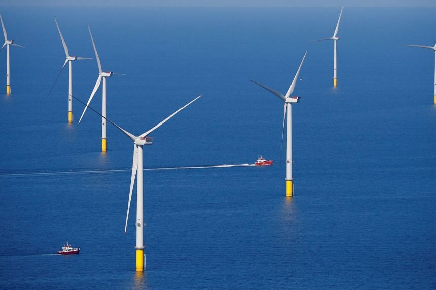 Wind turbines are seen at the Walney Extension offshore wind farm off the coast of Blackpool, Britain, on Sept 5, 2018.