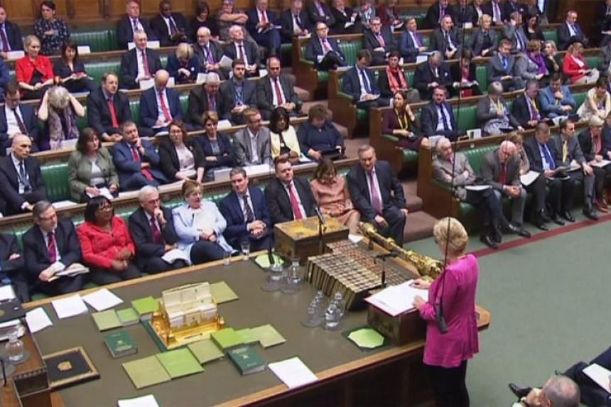 Britain's Leader of the House of Commons Andrea Leadsom (bottom right) during the debate in the House of Commons in London on Dec 4, 2018, on a motion to hold the government in contempt of parliament over their refusal to publish full legal advice th
