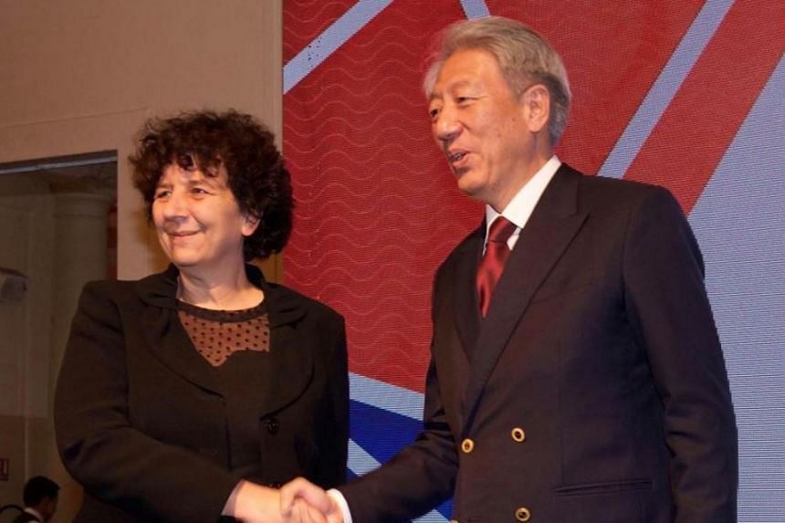 Deputy Prime Minister and Coordinating Minister for National Security Teo Chee Hean (right) met French Minister of Higher Education, Research and Innovation Frédérique Vidal in Paris on Dec 4, 2018.