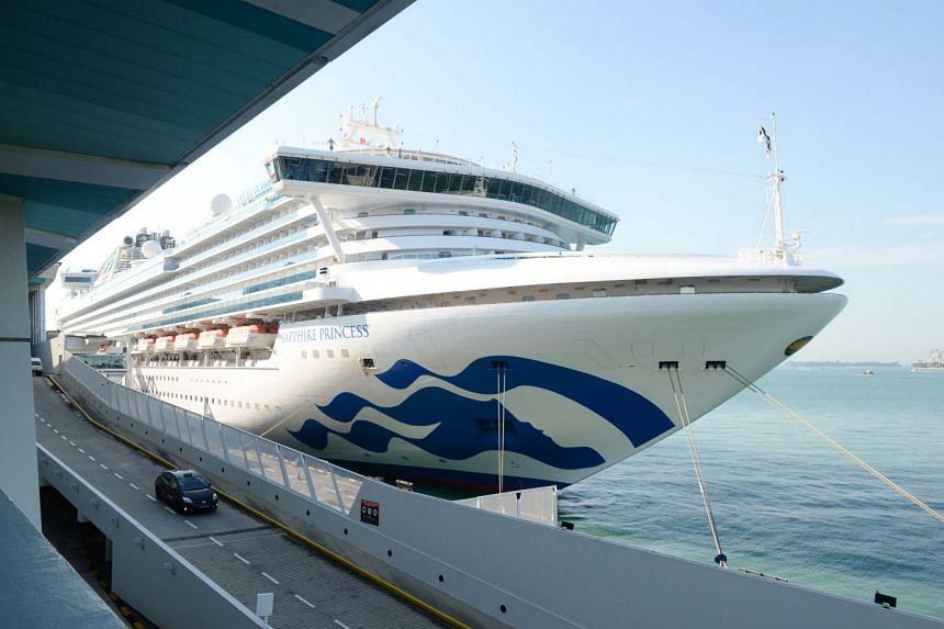 Sapphire Princess docked at Marina Bay Cruise Centre. PHOTO: LIANHE ZAOBAO