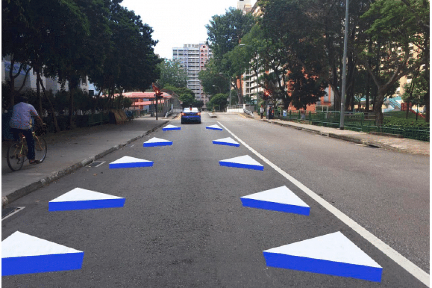 Three-dimensional traffic markings will be introduced at the Whampoa Drive Silver Zone by the end of this month. PHOTO: LAND TRANSPORT AUTHORITY