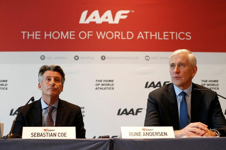 IAAF President Sebastian Coe and Rune Andersen, head of the IAAF taskforce on Russia at a press conference in Monaco on Dec 4, 2018.