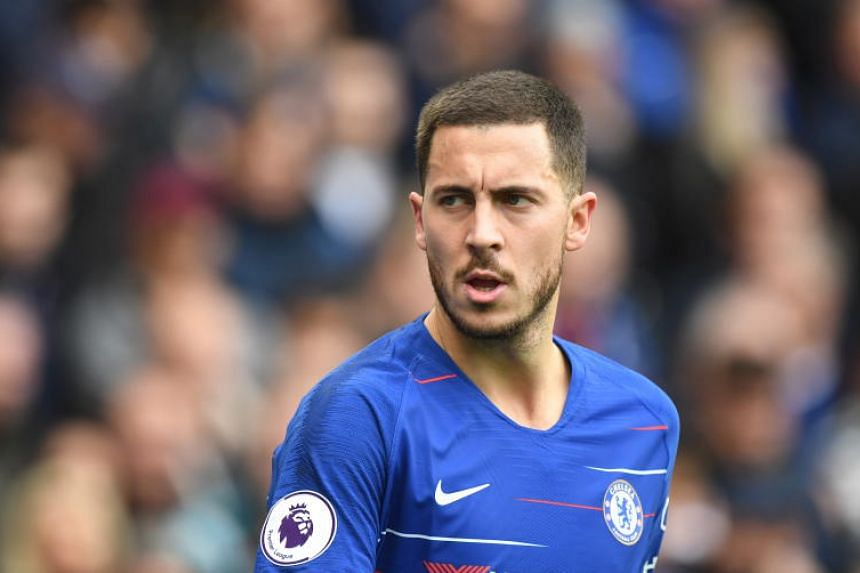 Chelsea's Eden Hazard reacts during the English Premier League soccer match between Chelsea and Fulham at Stamford Bridge in London, on Dec 2, 2018.