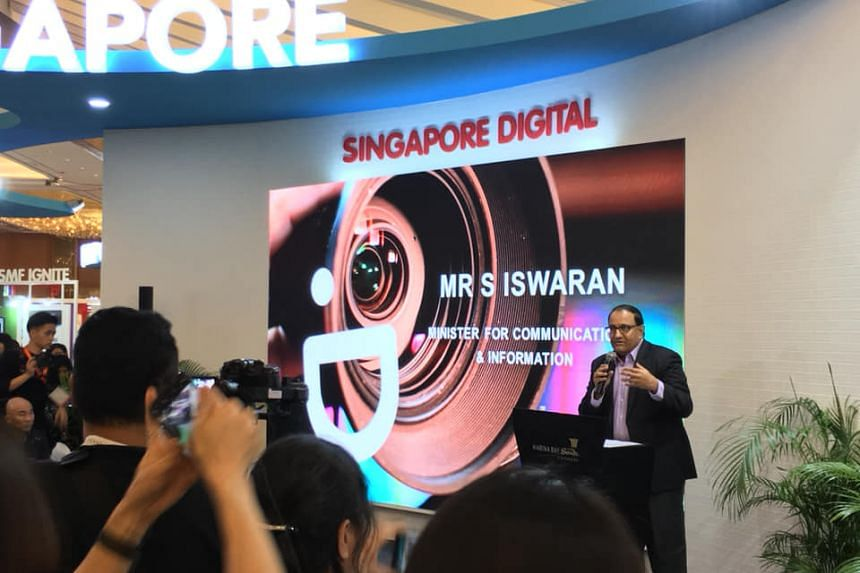 Minister for Communications and Information S. Iswaran speaks at the Asia TV Forum & Market and ScreenSingapore at Marina Bay Sands Expo and Convention Centre on Dec 5, 2018.