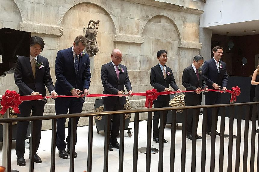 Taiwanese restaurant Din Tai Fung opened in London's Covent Garden yesterday, as the BreadTalk Group marked its first foray into Europe. Present at the opening were (from left) Taiwanese designer Song Yih, who designed the restaurant; Din Tai Fung's