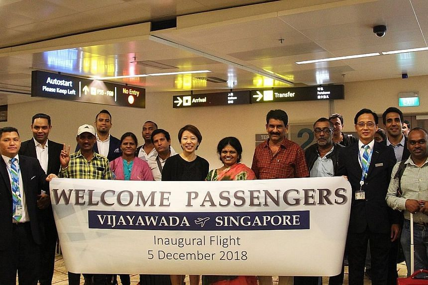 A welcome for guests on the flight operated by Indian carrier Indigo Airlines. The flight from Singapore to Amaravati landed at Vijaywada Airport on Tuesday. The return flight landed at Changi yesterday.