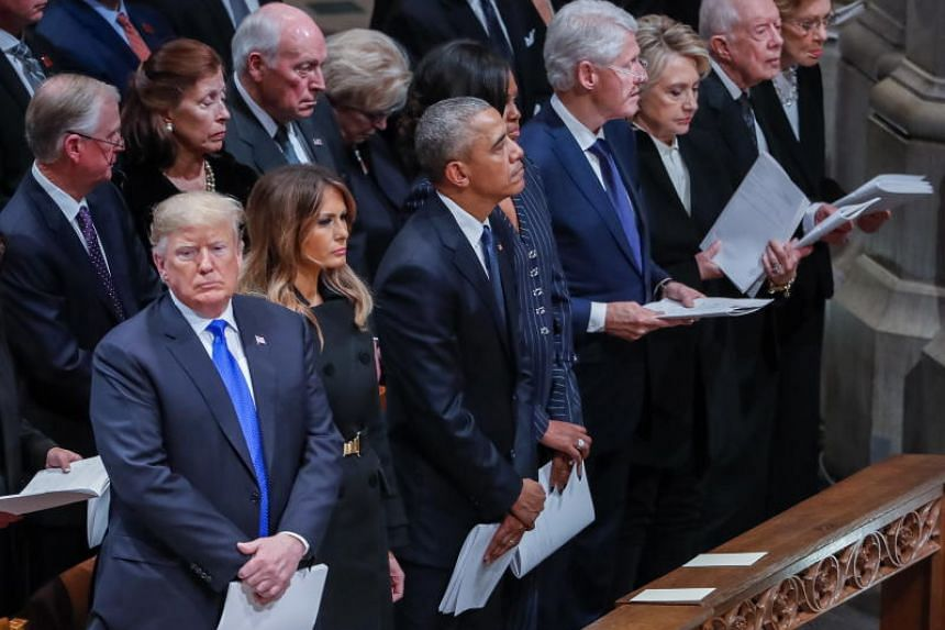 US President Donald Trump was in the company of all of his living predecessors for the first time on Dec 5, 2018, and the encounter was plainly uncomfortable.