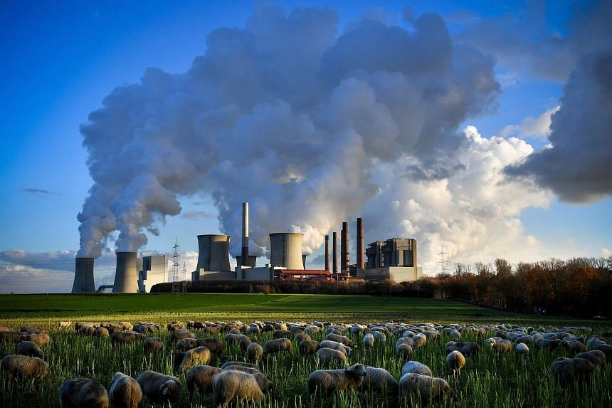 Steam rises from the brown coal-fired power plant Neurath and Niederaussem operated by RWE in Bergheim, on Dec 4, 2018.