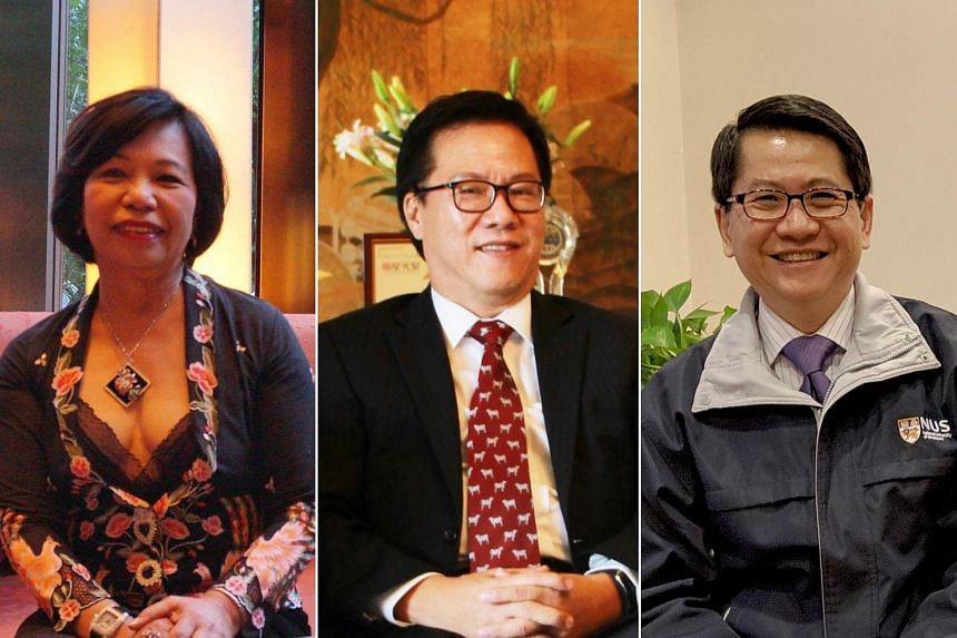 (From left) Beijing Smart Garments general manager Ms Dorothy Seet, hotelier Mr Harry Tan and Singapore's ambassador to China Mr Stanley Loh.