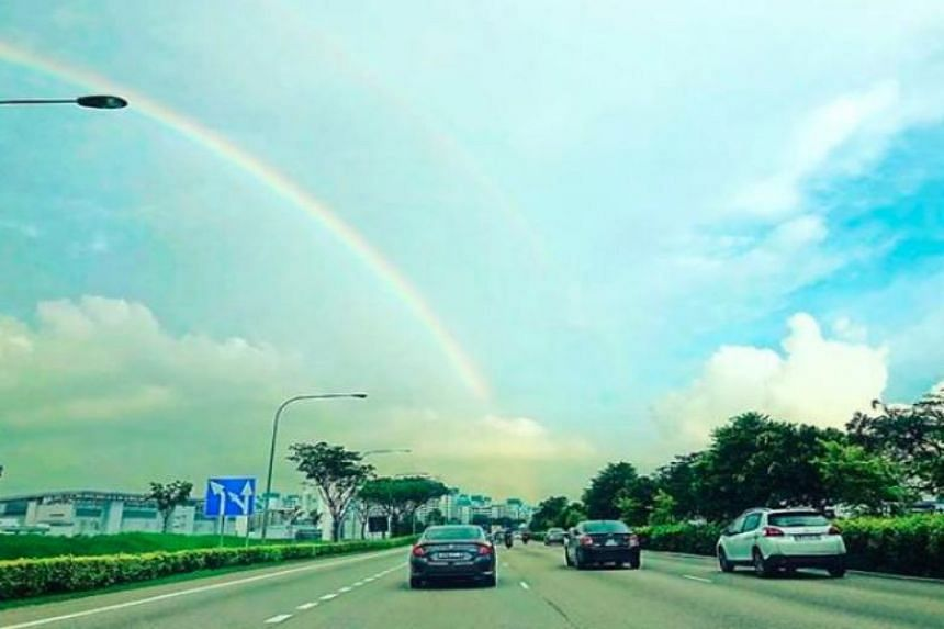 A double rainbow was spotted at certain areas in Singapore on Dec 6, 2018.