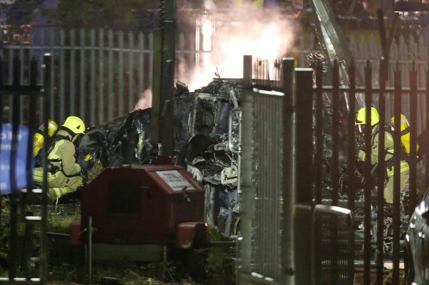 A general view of the wreckage of the helicopter belonging to Leicester City owner Vichai Srivaddhanaprabha that crashed outside the King Power Stadium on Oct 27, 2018. All the five occupants were killed.
