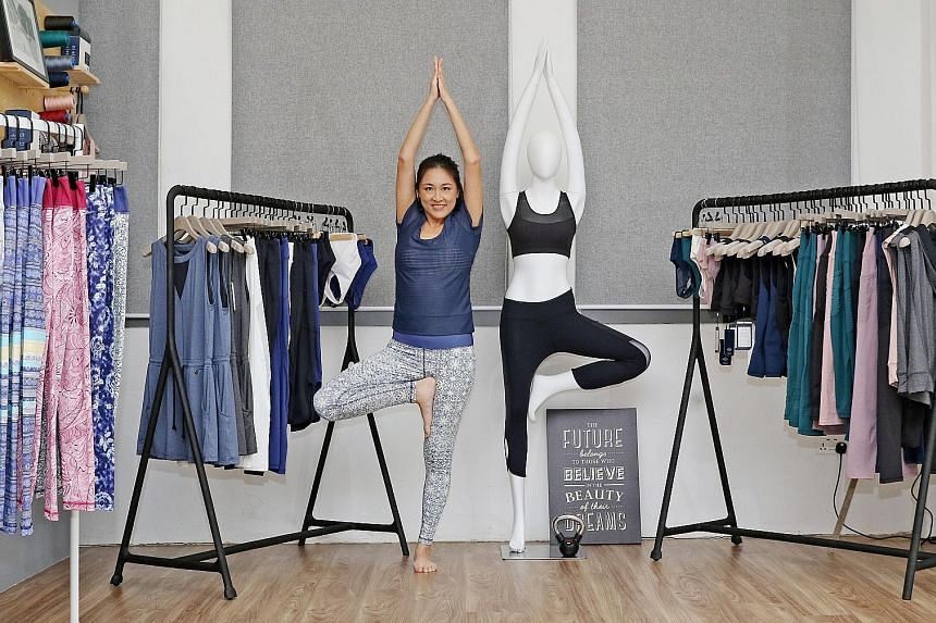 Yumi Active, founded by Ms Diana Chang (left), features collections with distinctly Asian-inspired prints, such as Singapore's Vanda Miss Joaquim national flower and Peranakan tile motifs.