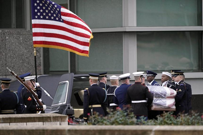 The body of former president George H. W. Bush was flown to Texas following a state funeral at the Washington National Cathedral.