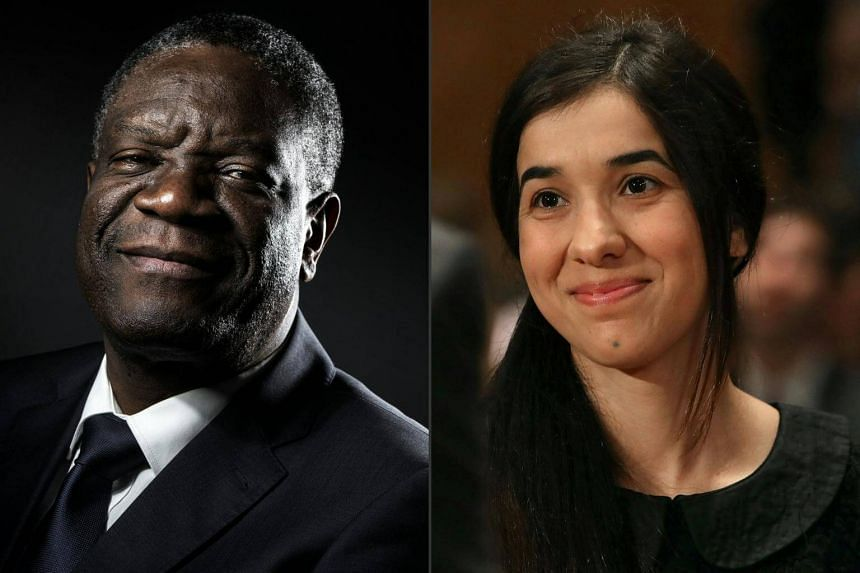 Congolese doctor Denis Mukwege and Yazidi activist Nadia Murad, a former captive of jihadists, will receive the Nobel Peace Prize in Oslo, on Dec 10, 2018.