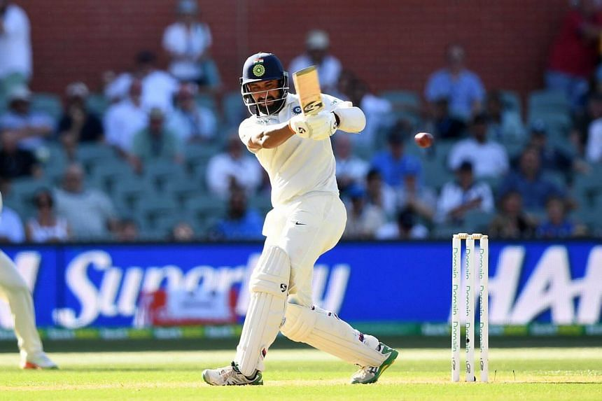 Indian batsman Cheteshwar Pujara plays a shot on day one of the first Test match between Australia and India, on Dec 6, 2018.