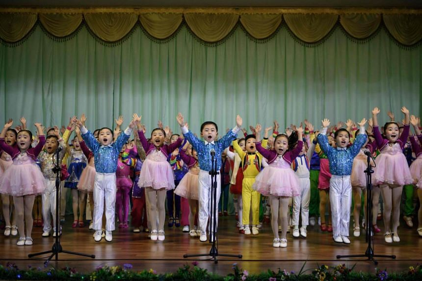 Children of the Sinuiju City Kindergarten belting out the finale of their hour-long show, We Cannot Live Without You, Father, an ode to Kim Jong Un.