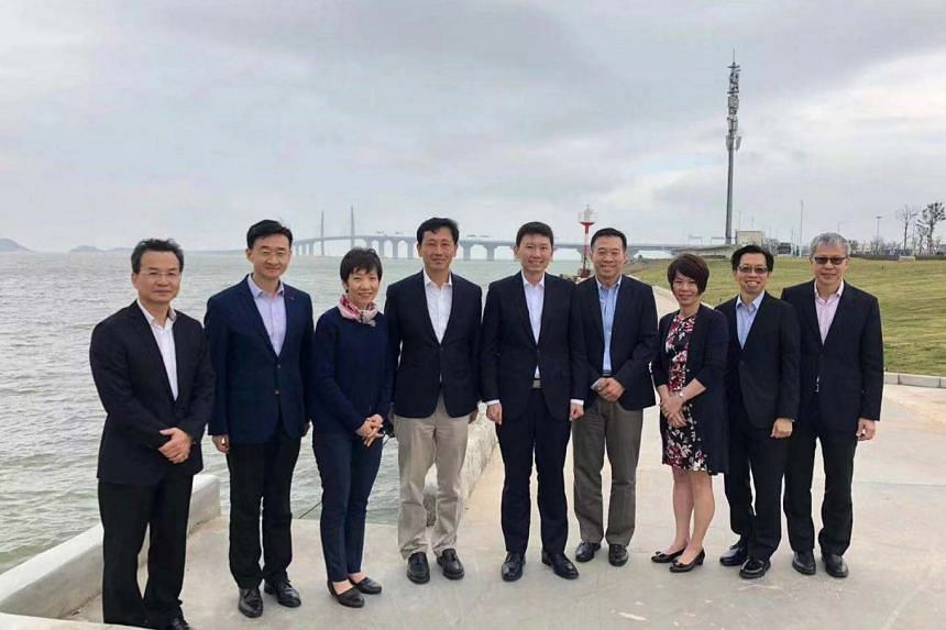 Education Minister Ong Ye Kung, accompanied by Minister for Culture, Community and Youth Grace Fu and Senior Minister of State for Trade and Industry and Education Chee Hong Tat, in Zhuhai, China.