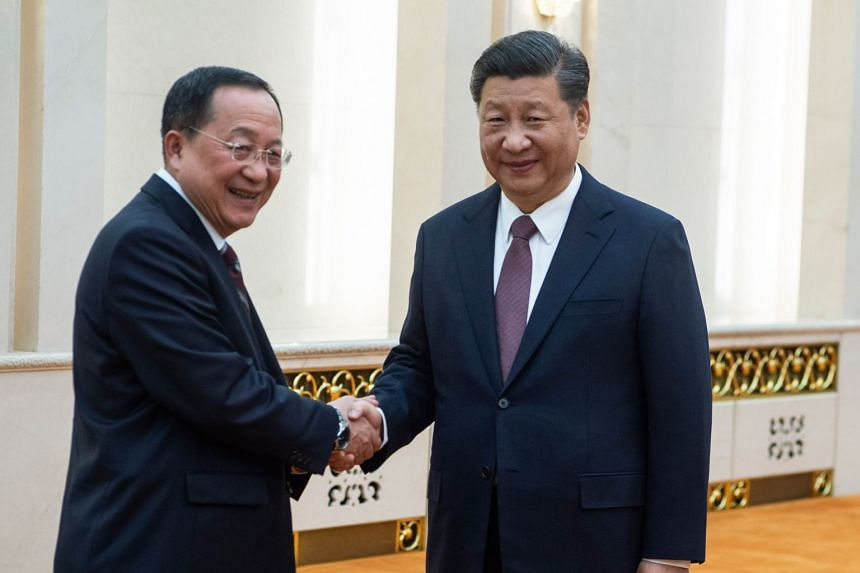 Chinese President Xi Jinping meets North Korean Foreign Minister Ri Yong Ho at the Great Hall of the People in Beijing on Dec 7, 2018.