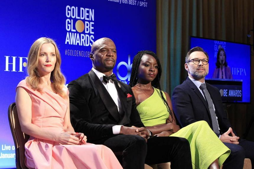 (From left) US actors Leslie Mann, Terry Crews, Danai Gurira and Christian Slater attend the nomination announcements for the 76th annual Golden Globe Awards at the Beverly Hilton in Beverly Hills, California, US, on Dec 6, 2018.