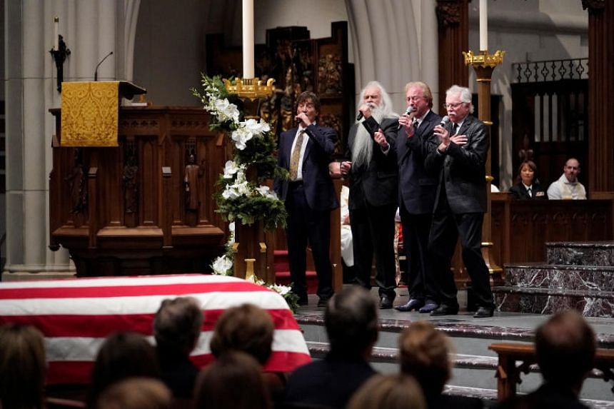 The Oak Ridge Boys sing Amazing Grace during a funeral service for former President George H. W. Bush at St Martin's Episcopal Church in Houston, on Dec 6, 2018.