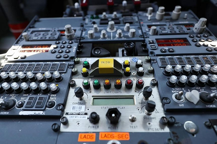Instruments and controls in the cockpit of a Boeing 737 Max 7 jetliner during preparations ahead of the Farnborough International Airshow 2018 in Farnborough, England. Training has become a focus after the deadly Lion Air crash.