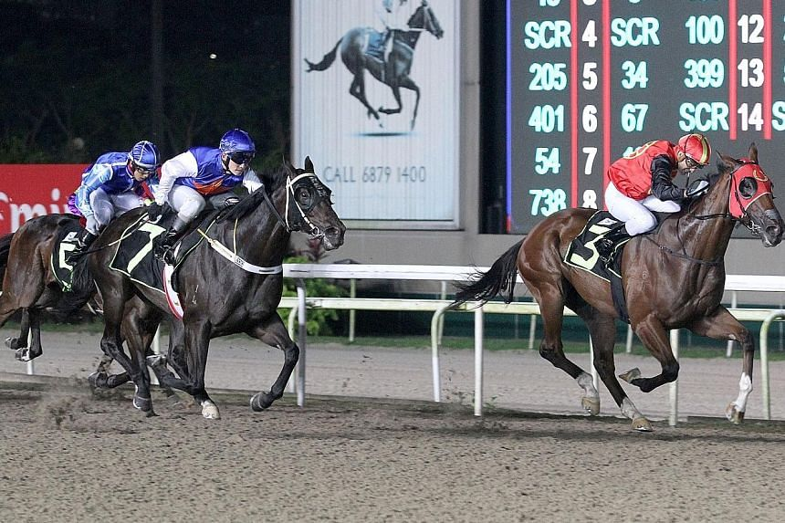 Apprentice Troy See steering Dragon High (No. 7) to chase down Geb Warrior (in red) in an exciting battle in yesterday's Race 4.
