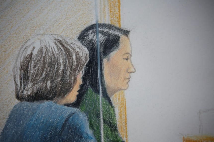 Huawei CFO Meng Wanzhou, who was arrested on an extradition warrant, appears at her B.C. Supreme Court bail hearing in a drawing in Vancouver, British Columbia, Canada, on Dec 7, 2018.