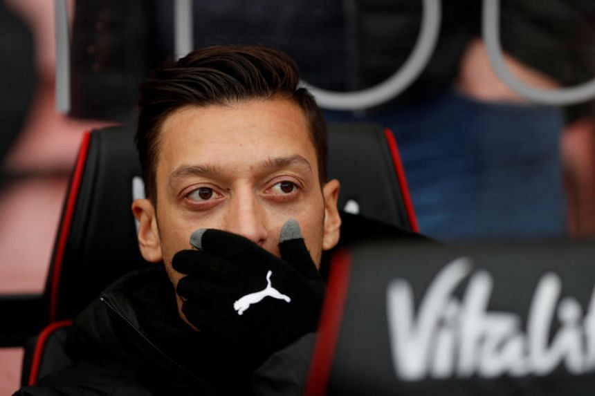 Players including Mesut Ozil (pictured), Pierre-Emerick Aubameyang, Alexandre Lacazette and Matteo Guendouzi feature in the footage.