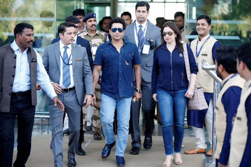 Former Indian cricketer Sachin Tendulkar and his wife Anjali arrive in Udaipur on Dec 8, 2018, to attend pre-wedding celebrations for Ms Isha Ambani.