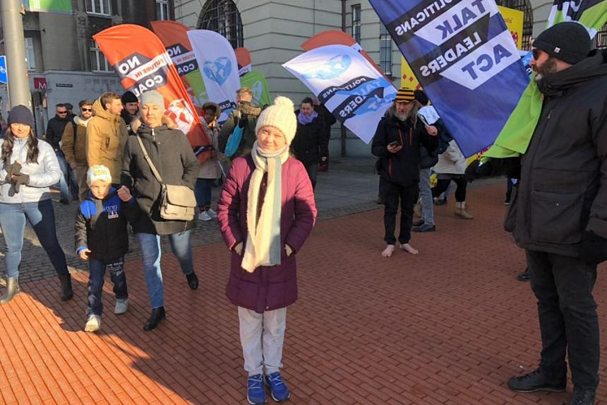 Swedish teen Greta Thunberg at a march in Katowice, Poland, on Dec 8, 2018.