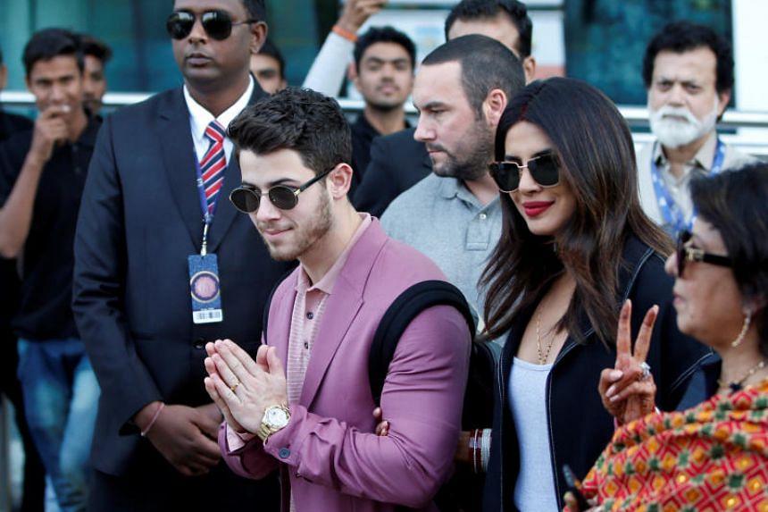 Actress Priyanka Chopra and her husband Nick Jonas arrive in Udaipur on Dec 8, 2018, to attend pre-wedding celebrations for Ms Isha Ambani.